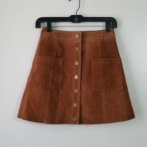 TOBI Suede Leather Skirt